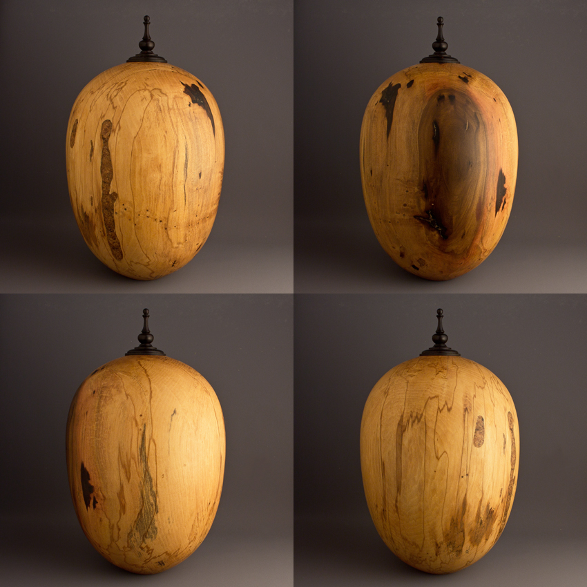 Large Spalted Drane Magnolia Cremation Urn, 210 ci - $1180.00