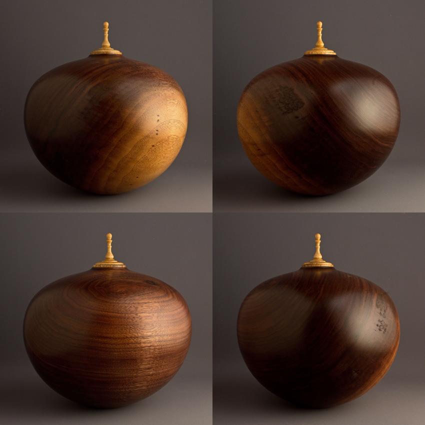 Medium Two Tone Walnut Urn, 145 ci - $540.00