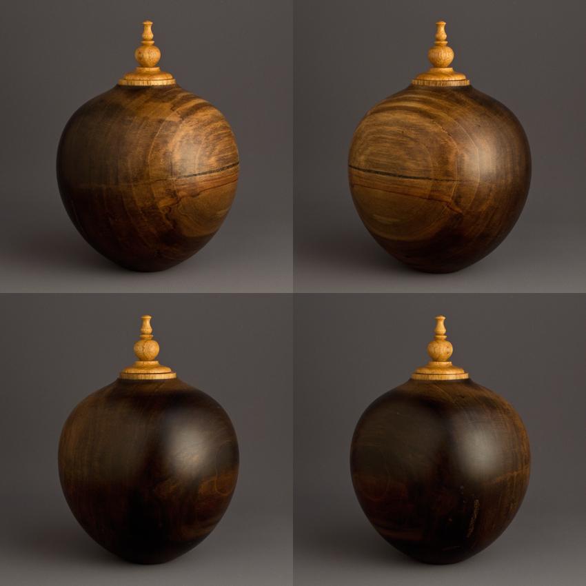 Simple Dark Poplar Keepsake Urn, 25 ci - $230.00