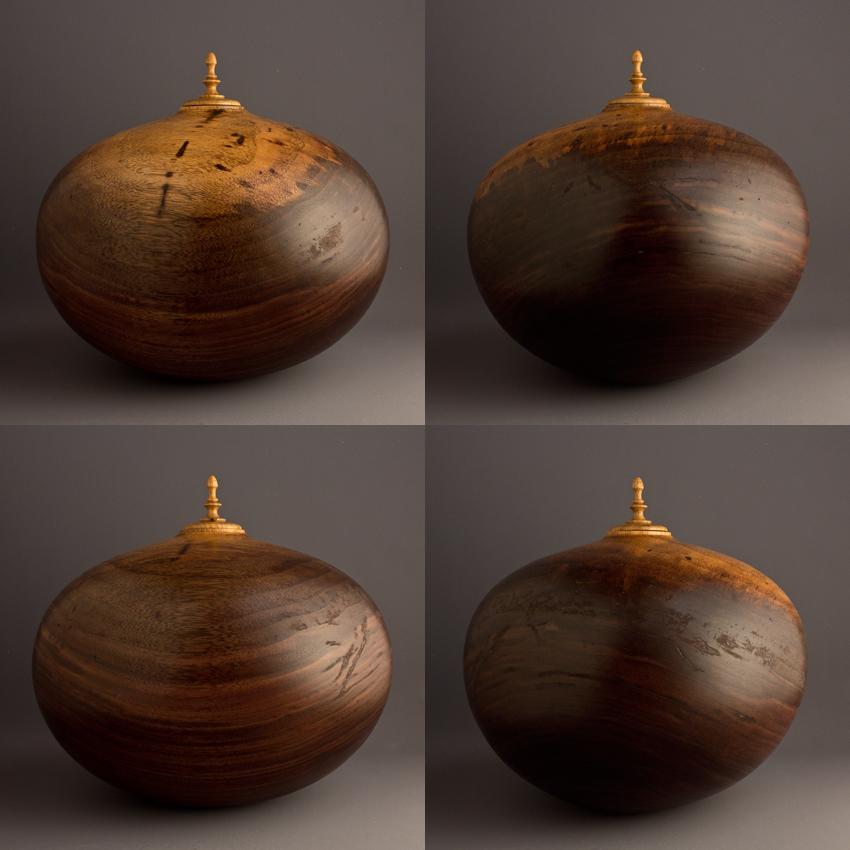Two Tone Walnut Cremation Urn, 235 ci - $1060.00