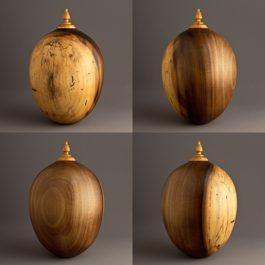 Spalted Two Tone Poplar Cremation Urn, 80 ci - $350.00