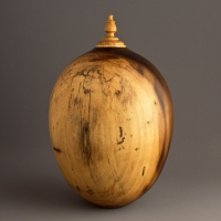 Spalted Two Tone Poplar Cremation Urn, 80 ci - SOLD
