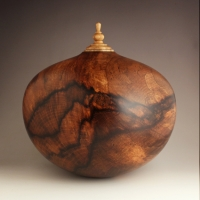Spalted Persimmon Companion Urn, 375 ci - SOLD