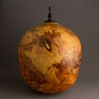 Large Spalted Elm Cremation Urn, 240 ci - SOLD