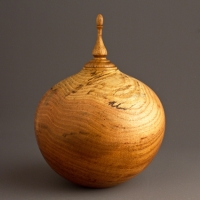 Small Spalted Locust Keepsake Urn, 35 ci - $240.00