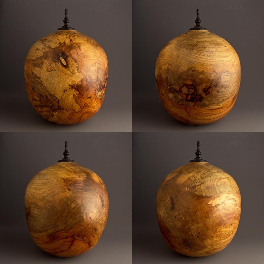 Large Spalted Elm Cremation Urn, 240 ci - $1280.00