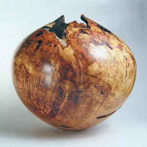Natural Red Mpale Burl Hollow Form