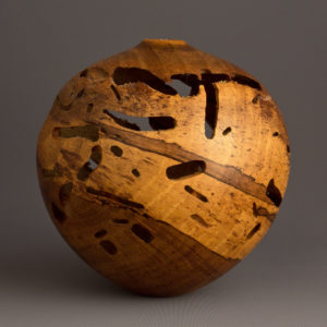 Spalted Wormy Natural Persimmon Hollow Form