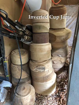 Stack of Cup Jams for mounting hollow vessels between centers
